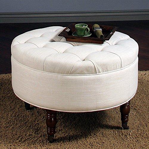 Abbyson Avernce Round Tufted Ottoman -