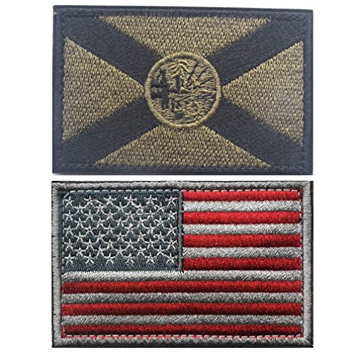 Embroidery USA Flag and FLORIDA State Flag Velcro Patch