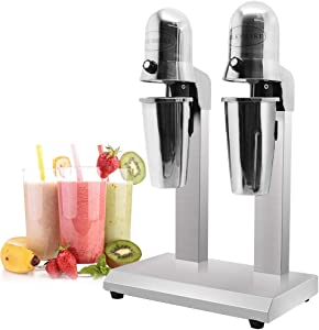 THMY ommercial Milkshake Maker Stainless Steel Drink Mixer Milkshake Machine Tea Shop Special Mixer Milk Foam Tea Snowstorm Machine (Double Spindles with 4 Cups)