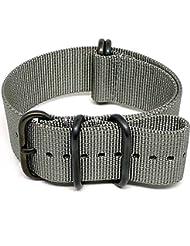 DaLuca Ballistic Nylon Military Watch Strap - Grey (PVD Buckle) : 20mm