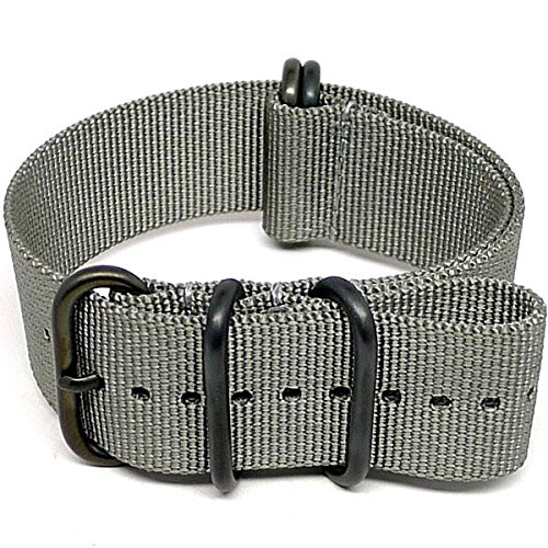 DaLuca Ballistic Nylon NATO Watch Strap - Grey (PVD Buckle) : 22mm