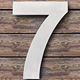 Royal H&H Large Modern House Numbers 6 inch (Number 7 Seven) Floating Home Address Numerals Sign Plaque Heavy Duty Mount for Home Hotel Office Brushed Nickel Solid Stainless Steel