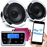 GoldenHawk USA Motorcycle Waterproof Bluetooth Wireless MP3 Music Player Audio Stereo Recessed Speakers System for Harley with Touch Control Panel, USB, 3.5mm AUX In, FM Radio, Amplifier