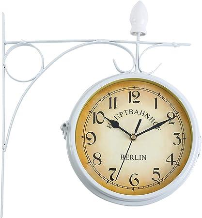 Ridgeyarde Doble Cara Reloj de Pared de hogar jardín Interior estación Fuera de Soporte (Blanco): Amazon.es: Hogar