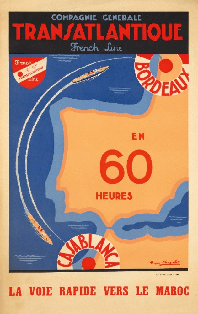 TRANSATLANTIQUE – Casablancaヴィンテージポスター(アーティスト: Chapelet )フランスC。1949 12 x 18 Art Print LANT-73964-12x18 B01DUNLC6E  12 x 18 Art Print