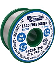 """MG Chemicals SAC305, 96.3% Tin, 0.7% Copper, 3% Silver, Lead Free Solder, RA Flux.81mm, 0.032"""" Dia."""