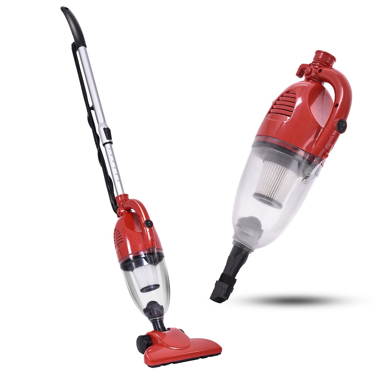 COSTWAY Upright Vacuum Cleaner 2-in-1 Professional Bagless Stick and Handheld Vacuum for Carpet and Hard Floor, Red