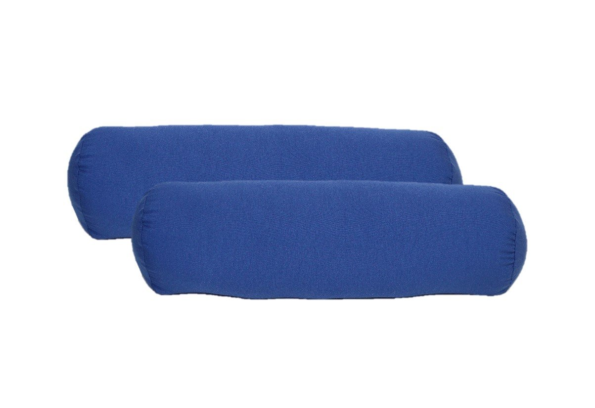 Set of 2 - Indoor / Outdoor Bolster / Neckroll Decorative Pillows - Solid Royal / Admiral Blue
