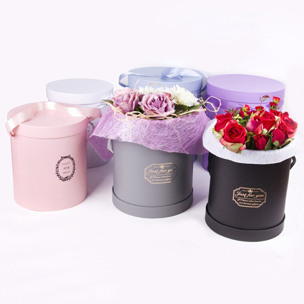 S//M//L Pink BBC Luxury Cylindrical Packaging Flower Paper Box with Lid Set//3
