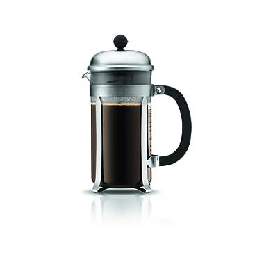 BODUM 1928-57 Chambord 8-Cup Coffee Maker, 34-Ounce, Matte Chrome, 34 Oz,