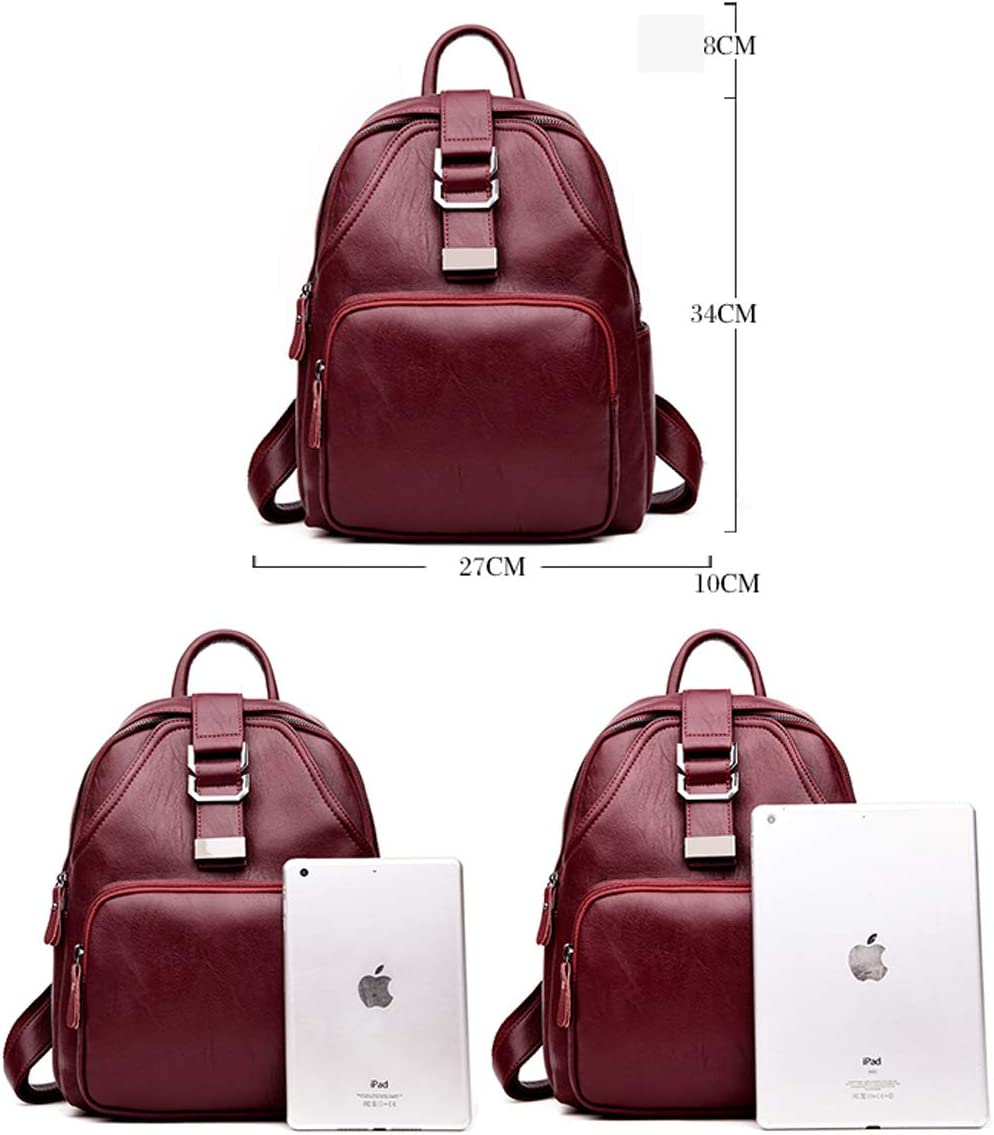 Simple Large Capacity Black//Blue//Red//Green//Bronze Haoyushangmao Girls Multi-Purpose Backpack for Daily Travel//Travel//School//Work//Fashion//Leisure PU Leather