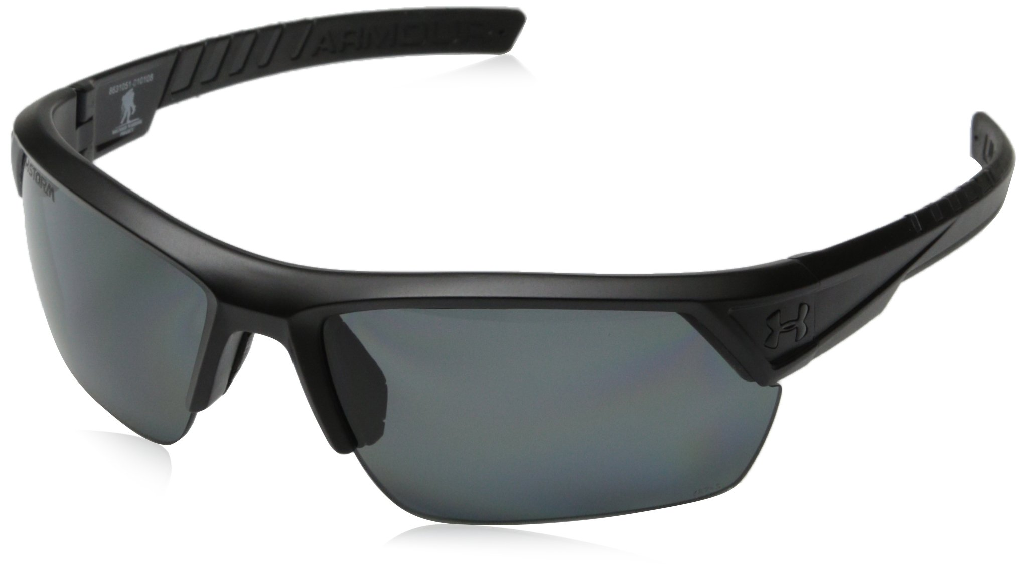Under Armour Sunglasses Rectangular, UA IGNITER 2.0 Storm (ANSI) Satin Black Frame/Gray Polarized Lens, M/L by Under Armour