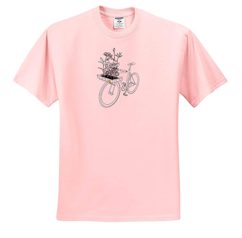 3dRose Ninhol Bike T-Shirts A Bike with a Basket of Flowers