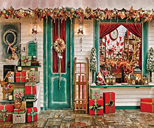 SJOLOON 10X8FT Christmas Street Decorations Vinyl Customized Photography Backdrop Photo Background Studio Prop 10796