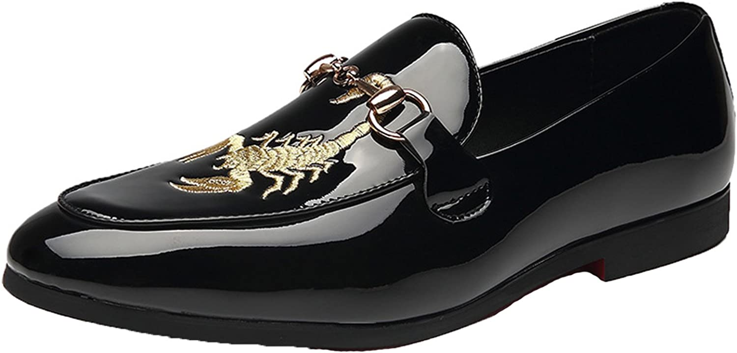 SANTIMON Black Loafers Men Patent Leather Embroidered Casual Slip-on Shoes Pointed Toe Smoking Slipper Moccasins