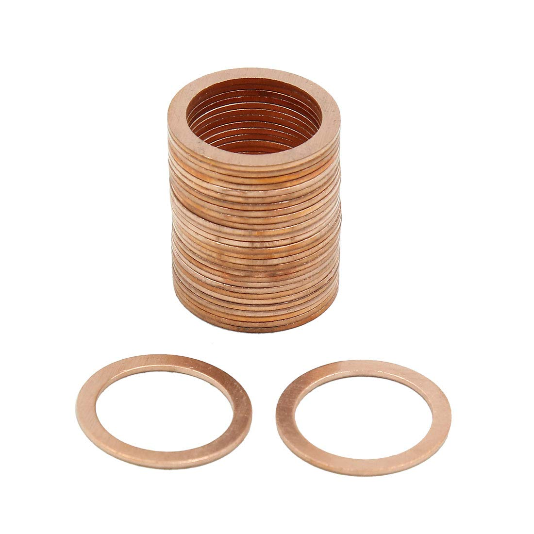 X AUTOHAUX 18mm Inner Dia Copper Crush Flat Washers Car Engine Sealing Gaskets Rings 30pcs