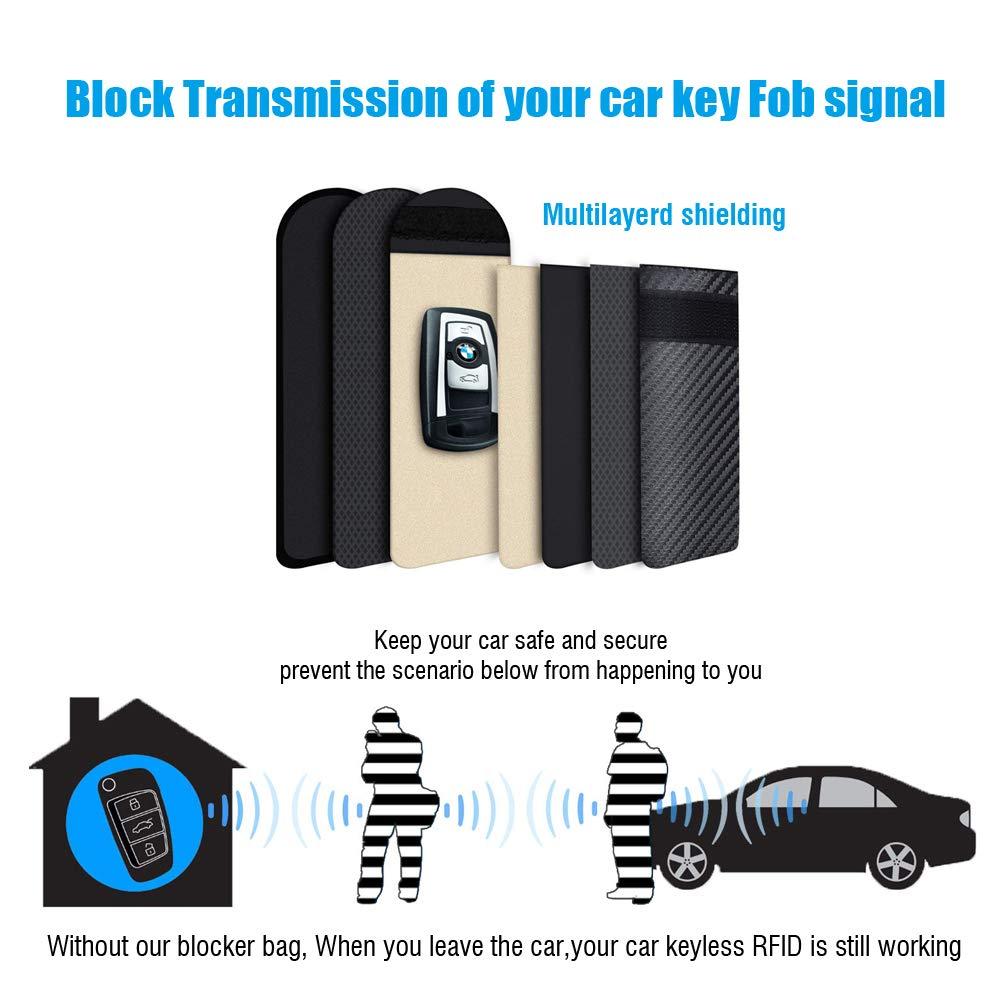 Car Key Signal Blocker Case Zebbyee Anti-Hacking Case Blocker Car Key Fob Anti-Thief Protector Car Key Signal Pouch with Keychain RFID Signal Blocking for Keyless Entry 2 Pack, Brown