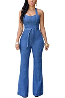 2d575aa5ffb Amazon.com  Minisoya Women Backless Sling Playsuit Overalls Romper ...