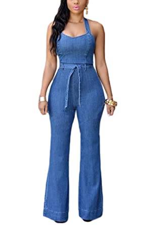 519d0179aee Amazon.com  Fanvans Womens Sexy Jumpsuit Deep V Button Down Wide Leg Denim  Rompers  Clothing