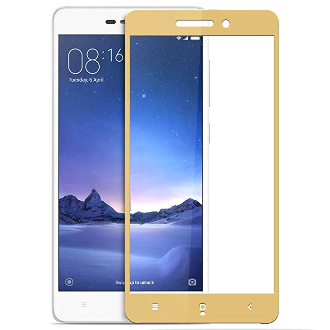 Knotyy Edge to Edge Curved Tempered Glass for Redmi 3S Prime  Gold  Screen guards