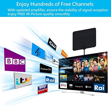 Antena TV Interior, HDTV Antena Interior Digital Antena (black3): Amazon.es: Electrónica