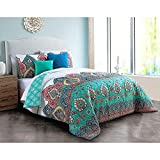DP 5pc Colorful Blue Teal Damask Comforter King Set, Red Pink White Bohemian Bedding Hippie Florals Indie Southwest Themed Majestic Tribal Country, Microfiber Polyester