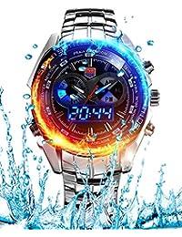 Men's Military Steel Men's Quartz Clock Dual time Digital Blue Binary LED Alarm Waterproof Sport Watch