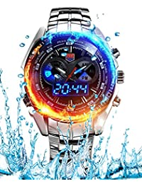 TOMORO Men's Military Stainless Steel Men's Clock Fashion Blue Binary LED Alarm Pointer Waterproof sport Watches