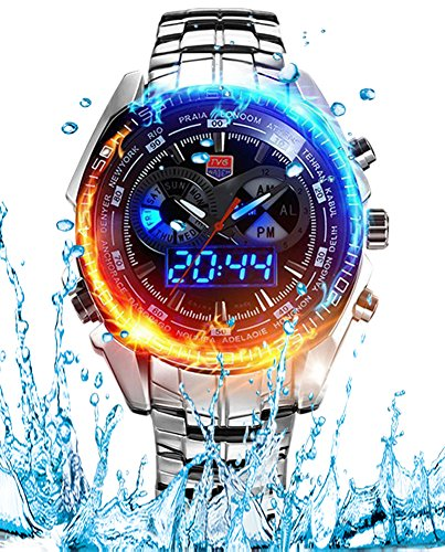 Metal Watch (Men's Military Steel Men's Quartz Clock Dual time Digital Blue Binary LED Alarm Waterproof Sport Watch)