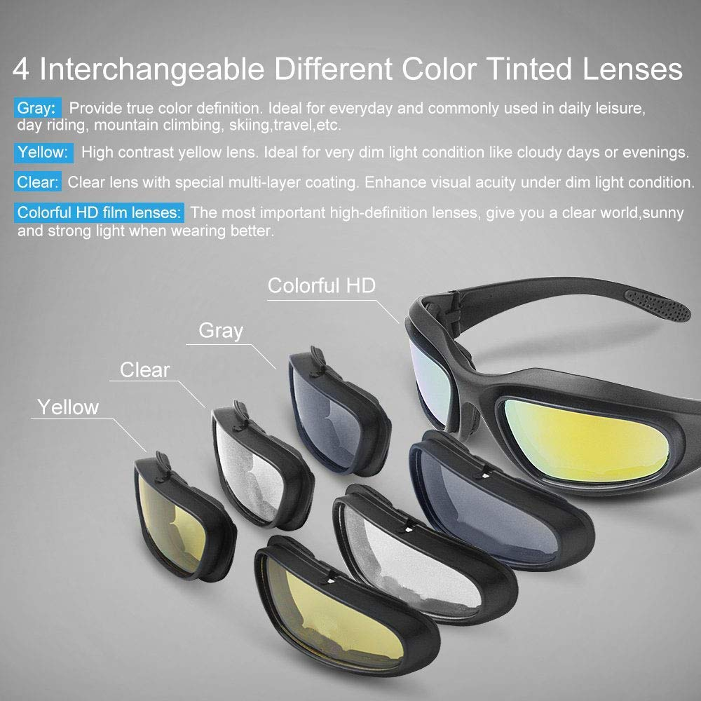 e6470977e17 Amazon.com  kemimoto Non-Polarized Riding glasses Motorcycle Goggles Sport  Sunglasses With 4 Lens Kits  Automotive