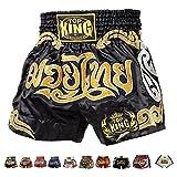 Top King Boxing Muay Thai Shorts Normal or Retro Style Size S, M, L, XL, 3L, 4L (Black/Gold Muay Thai L)