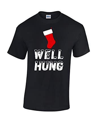 623ecdb87 Amazon.com: CBTWear Well Hung - Funny Inappropriate Christmas Office Party  - Ugly Xmas Tee - Funny Stocking Men T-Shirts: Clothing