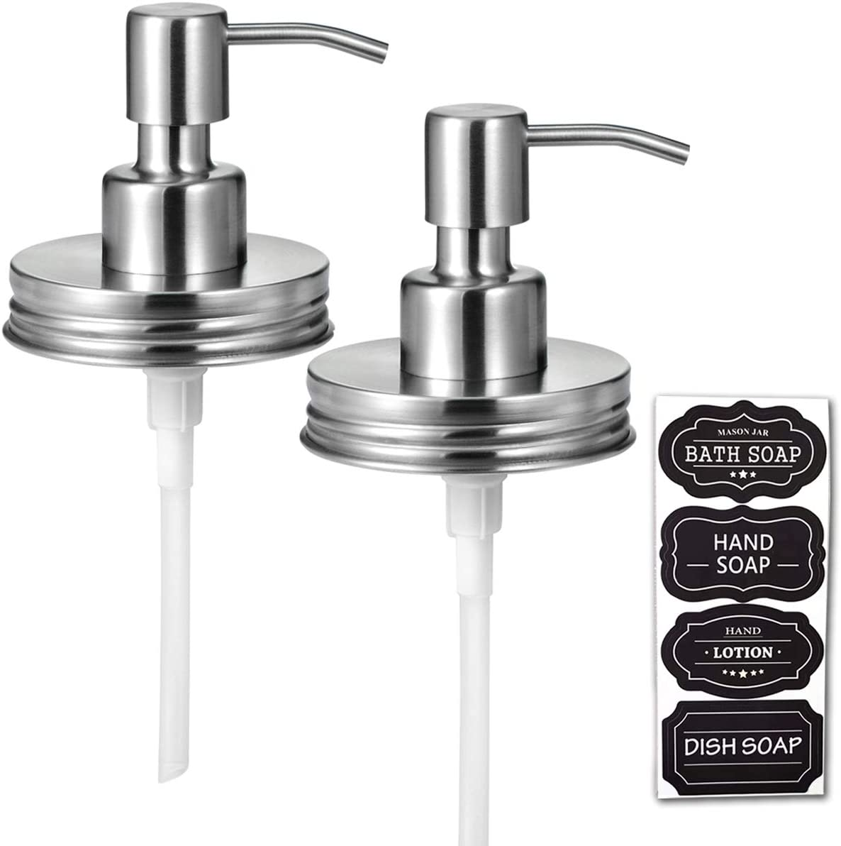 Mason Jar Liquid Soap Dispenser Lids(2) –Premium Rust Proof Stainless Steel - Modern Farmhouse Decor for Kitchen & Bathroom, Liquid Soap Pumps for Hand Soap,Dish Soap, Lotions / Brushed Nickel-2 Pack