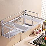 wall toaster oven - lzzfw Space Aluminum Double-Layer Microwave Oven Rack Wall-Mounted Kitchen Toaster Electric Oven Rack, Five Hooks