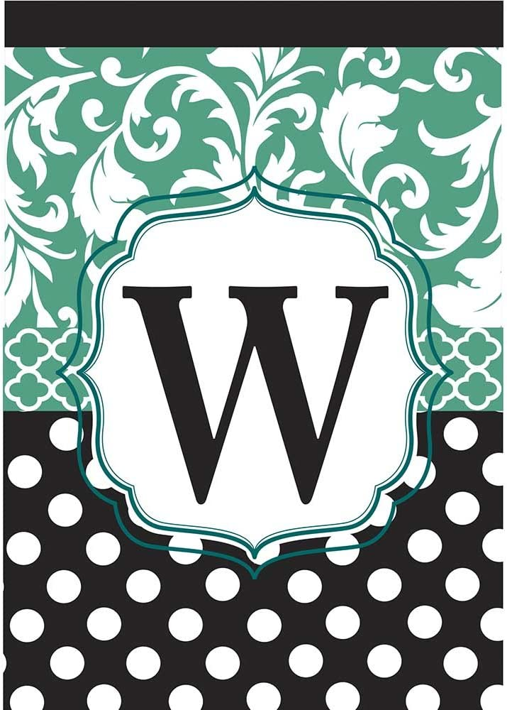 Monogram W Filigree Aqua and Black Polka Dot 18 x 13 Rectangular Double Applique Small Garden Flag