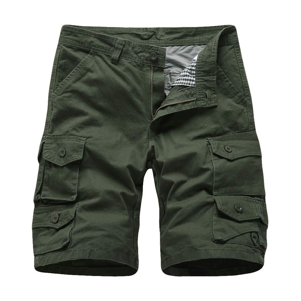 LEERYAAY CargoΧnos Men's Summer Outdoors Casual Loose Multiple-Pockets Cotton Overalls Beach Shorts ArmyGreen