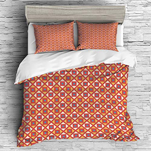 (3 Pieces (1 Duvet Cover 2 Pillow Shams)/All Seasons/Home Comforter Bedding Sets Duvet Cover Sets for Adult Kids/King/Kids,Checked Pattern with Dots in Squares Diagonal Geometrical Retro Style,Marigold)