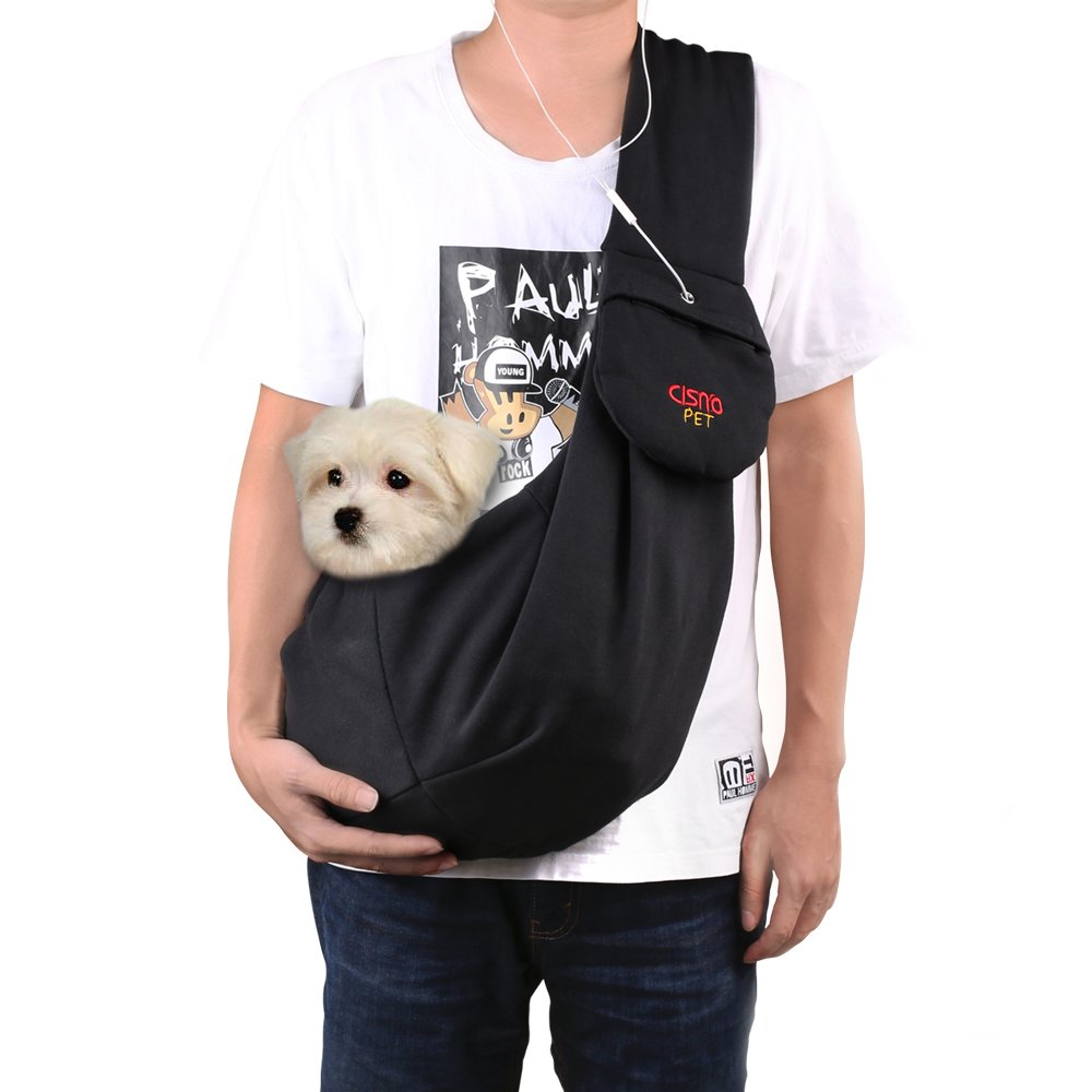 CISNO Adjustable Pet Dog Sling Carrier Bag For Small Dog Cat Puppy 5-13 Lbs-Cotton Fleece Fabric