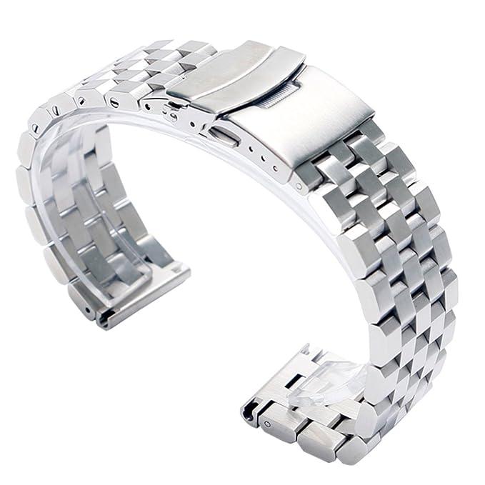 1 opinioni per 22mm cinturino in solido acciaio inossidabile 316L argento orologio da polso di