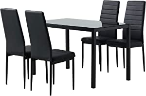 COSVALVE Tempered Glass Dining Table & Chair Set of 5, Black Finish Table with Rust Resistant Legs, Armless Design Leather Chair, for Kitchen Dining Room Restaurant Coffee Shop Domestic