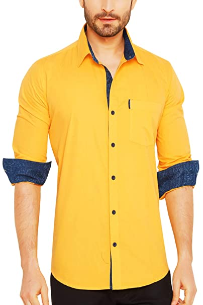 5b64eec322 Go Stylish Men s Cotton Casual Solid Shirt  Amazon.in  Clothing    Accessories