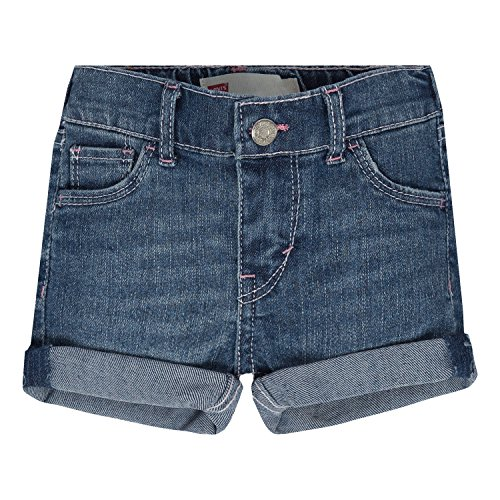 Levi's Baby Girls' Summer Love Denim Shorty Short, Fiji Blue, 12M (Baby Levi Jeans Girls)