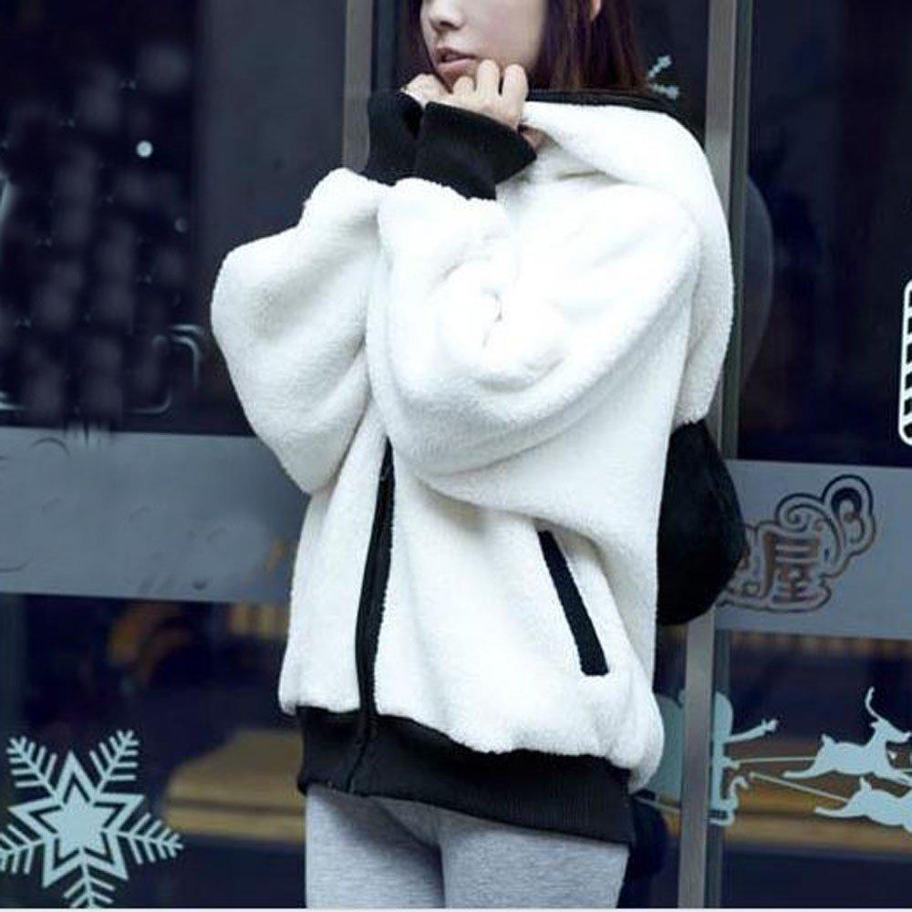 Cute Bear Ear Panda Winter Warm Hoodie Coat Women Hooded Jacket Outerwear by iYBUIA