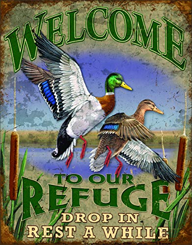 (Desperate Enterprises Welcome to Our Refuge Tin Sign, 12.5