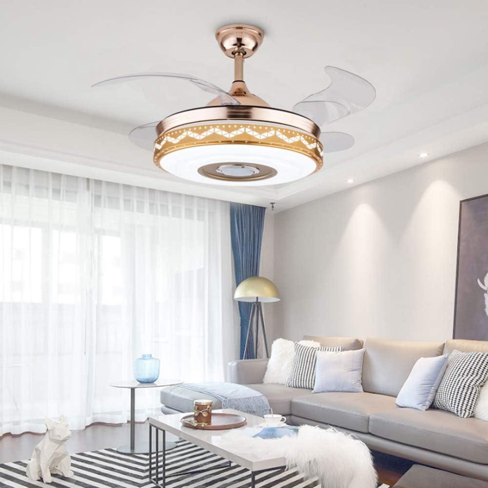 YDZM Luces Colgantes Moderno Led Ventilador Eléctrico Luz De Techo Bluetooth Audio Música Luces Colgantes Dormitorio Comedor Sala De Estar Lámpara Araña Iluminación Interior