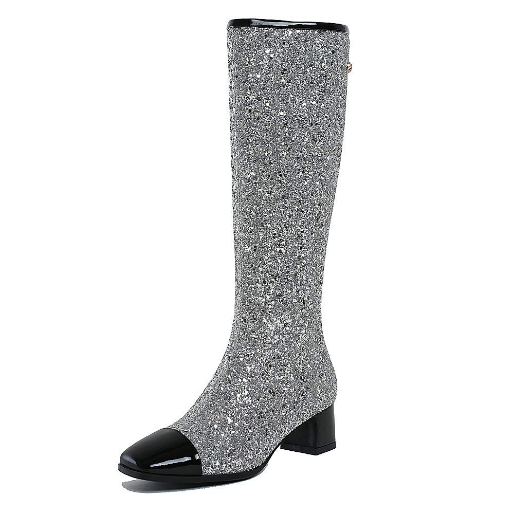 Silver (Lining short plush) AnMengXinLing Fashion Knee High Boots Women Block Low Heel Glitter Leather Party Wedding Boots Square Toe Side Zipper Dress Pumps shoes