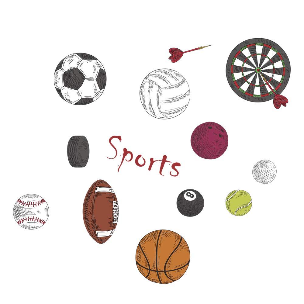 Elegant Wandtattoo Basketball Sammlung Von Decalmile Jungen Sport Rugby Darts Fußball Wandsticker