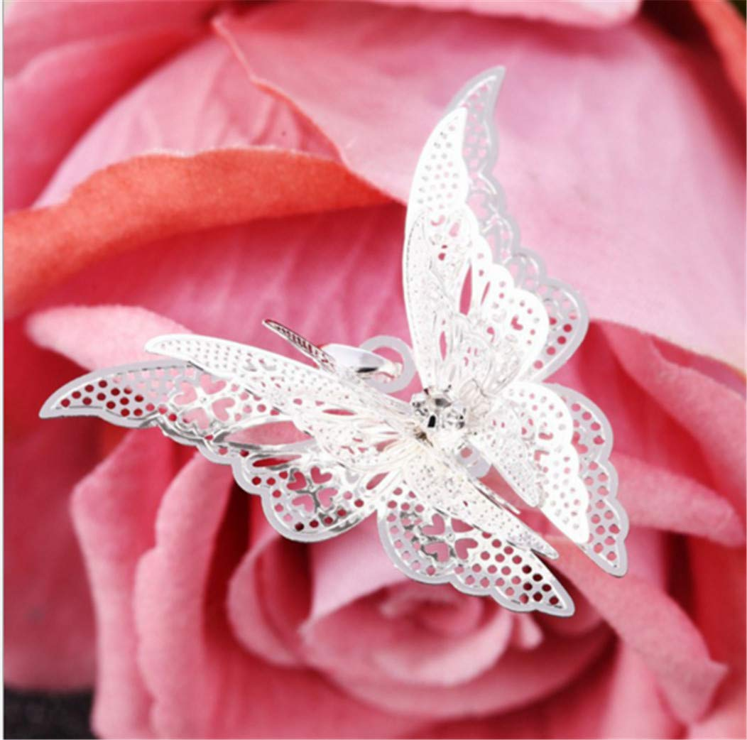 Hollow Pointed Butterfly Necklace Wings Multi-Layer Pendant Jewelry by PG-kisseller (Image #2)