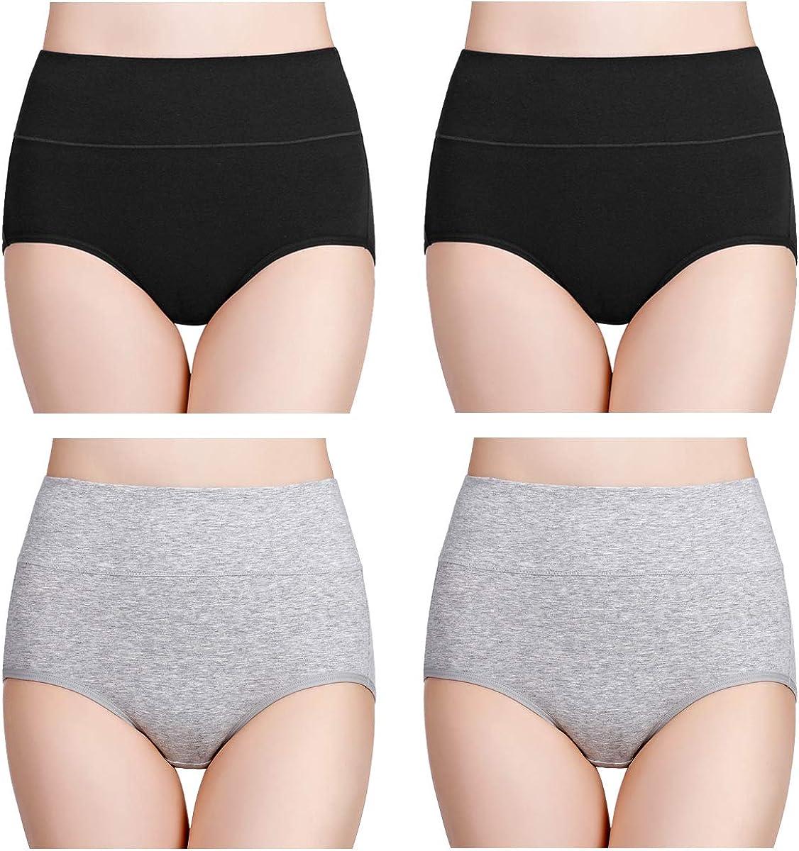 wirarpa Womens High Waisted Cotton Underwear Ladies Soft Full Briefs Panties Multipack