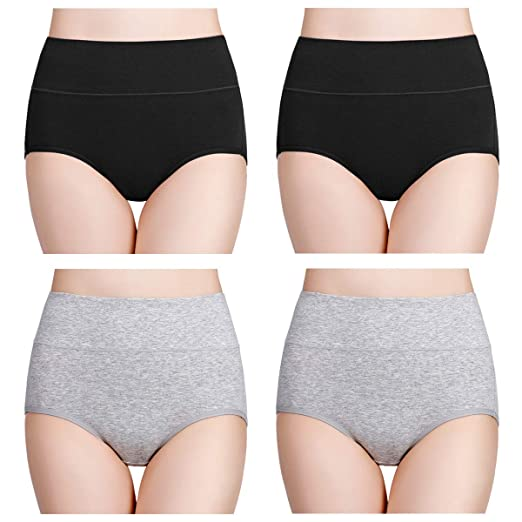 e4c25a2509b wirarpa Women's Cotton Underwear High Waist Full Coverage Brief Panty  Multipack
